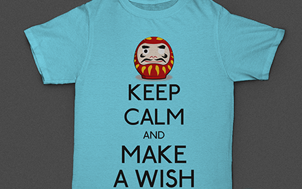 T-shirt - Keep Calm and Make a Wish (Daruma)